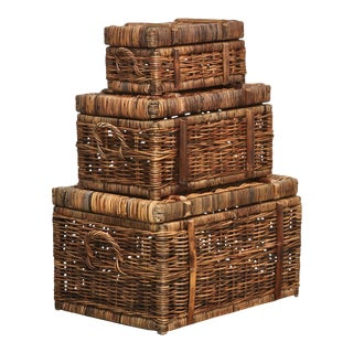 Vintage Style Rattan Cargo Trunks - Set of 3