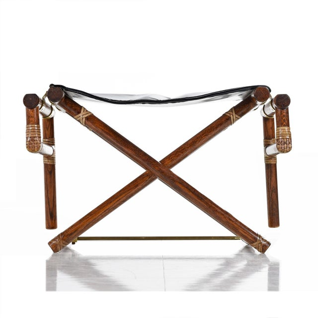 Animal Skin McGuire Director Chair X-Chair, Vintage Black Leather, Oak and Brass For Sale - Image 7 of 9