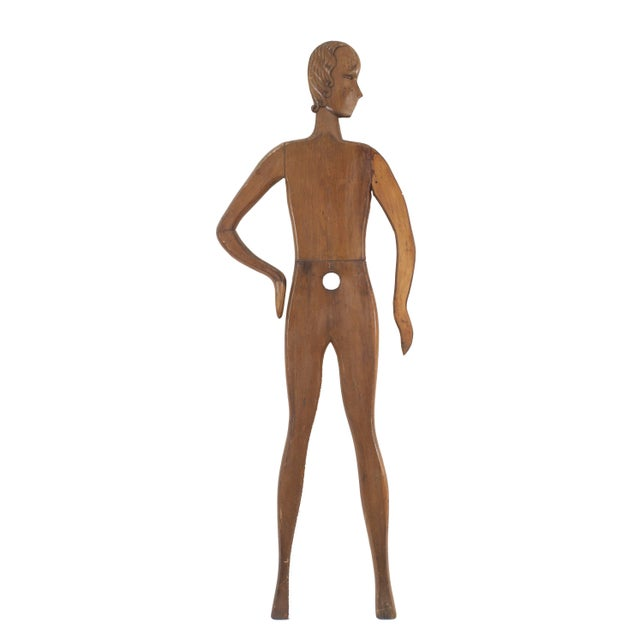 Pair of American Art Deco Stained Pine Mannequin Panel Figure For Sale - Image 4 of 6