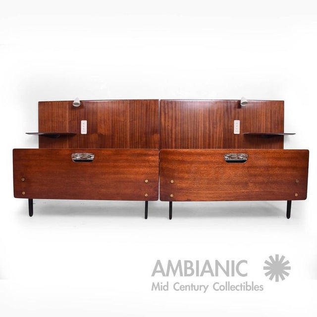 For your consideration a Mid-Century Modern bed made in Italy. Acquired from apartment in Milan, I was told the design of...
