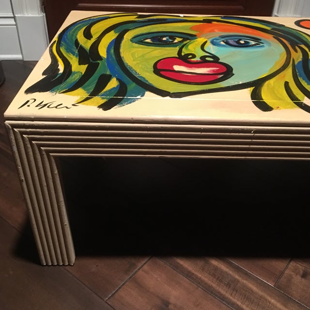 Red 1970s Peter Keil Hand Painted Abstract Coffee Table For Sale - Image 8 of 13