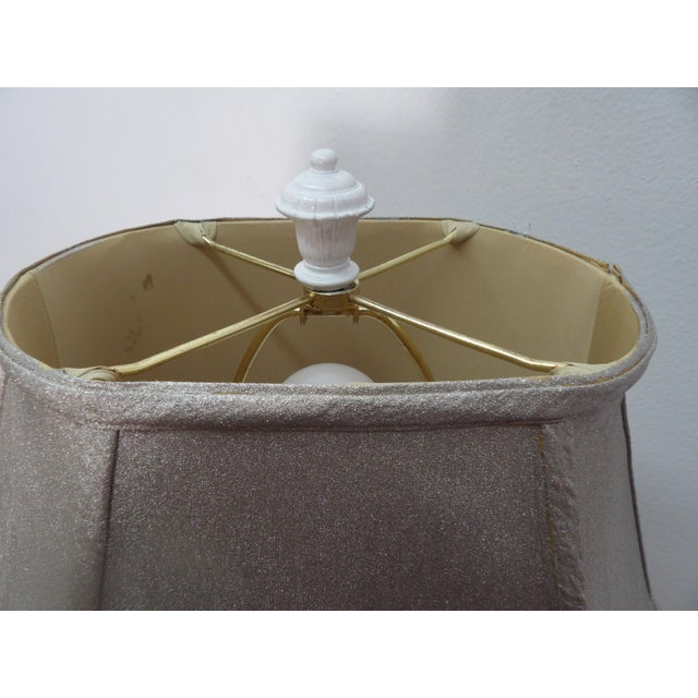 White Parakeet Lamp in White Lacquer With Multiple Setting Lights With Silver Shade For Sale - Image 8 of 11