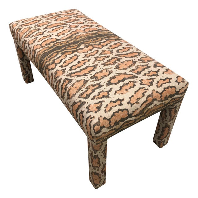Vintage upholstered Parsons-Style Bench. Newly upholstered in in Peter Dunham Gattopardo heavy linen fabric. Oatmeal...