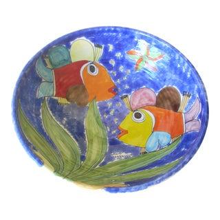 Italian Ceramic Fish Motif Bowl For Sale