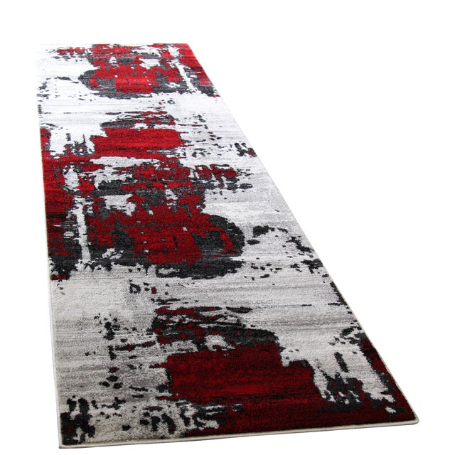 Abstract Red Rug - 3′ × 10′ - Image 1 of 4
