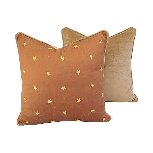 Silk Pillows W/ Embroidered Gold Stars - A Pair - Image 2 of 6