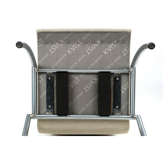 Danish Modern Brushed Steel Side Chair by Kvist - Image 6 of 11