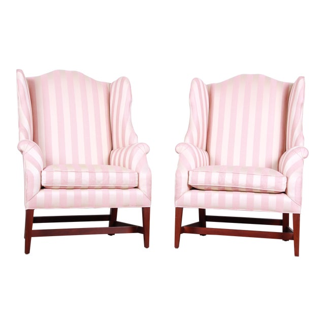 Baker Furniture Wingback Lounge Chairs, Pair For Sale