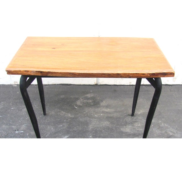 Natural Wooden Slab Table with Black Steel Base For Sale - Image 4 of 6