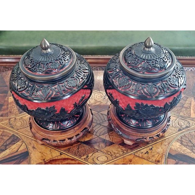 20th Century Chinese Cinnabar and Enamel Lidded Urns on Stand - a Pair For Sale - Image 4 of 11