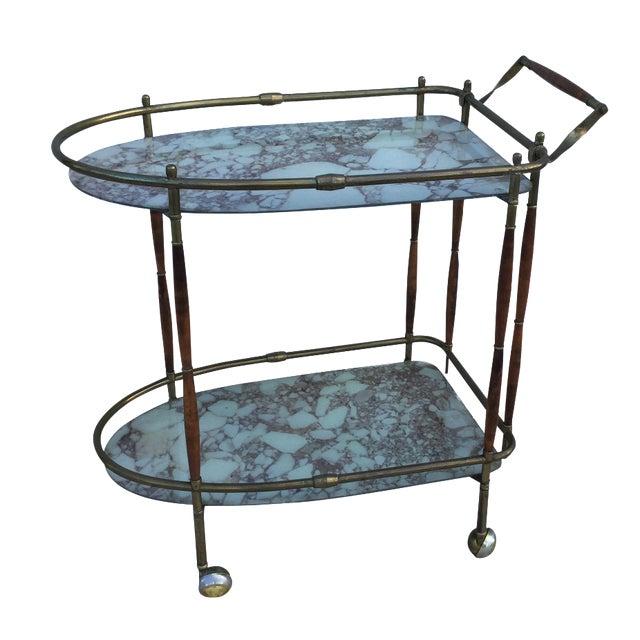 1950s Italian Brass & Walnut Bar Cart - Image 1 of 11