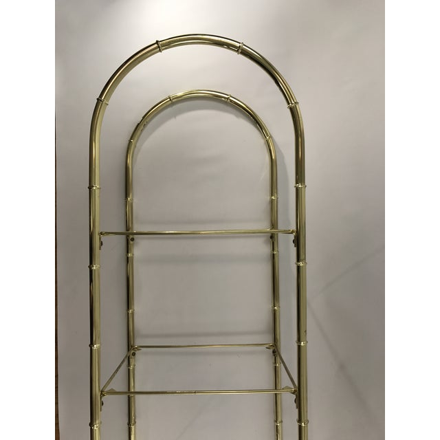Hollywood Regency Faux Bamboo Arch Shaped Brass Etagere Frame For Sale - Image 4 of 8