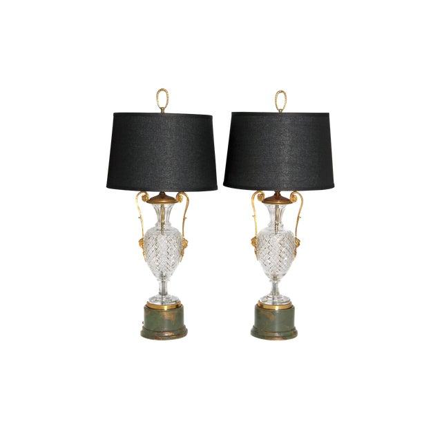 Mid-Century Cut Crystal and Gilt Bronze Lamps by Cristal Et Bronze / Paris For Sale