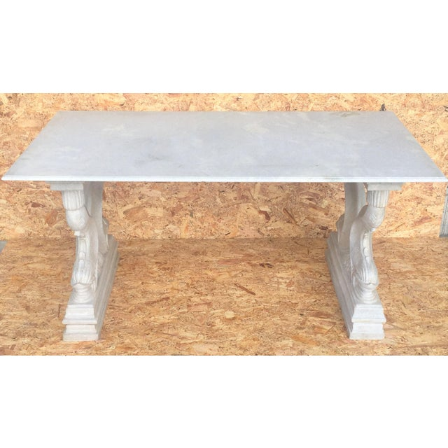 Late 19th Century 19th Italian Center or Dining Table in Carrara Marble For Sale - Image 5 of 13