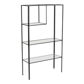 1950s Mid Century Modern Frederick Weinberg Angle Iron & Glass Shelf Unit For Sale