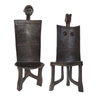 Makonde Tribe Tanzania Ceremonial Throne Chairs-A Pair For Sale