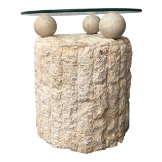 Postmodern Natural Mactan Stone Pedestal Accent Table. For Sale