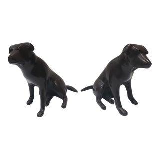 Circa 1920 English Art Deco Bronze Labrador Retriever Dog Figurines - a Pair For Sale