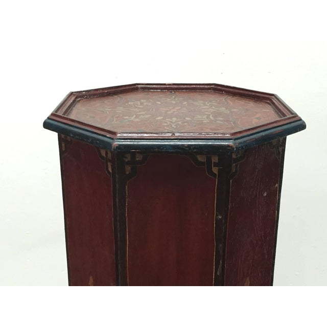 Hand-Painted Moroccan Pedestal Table For Sale In Los Angeles - Image 6 of 13