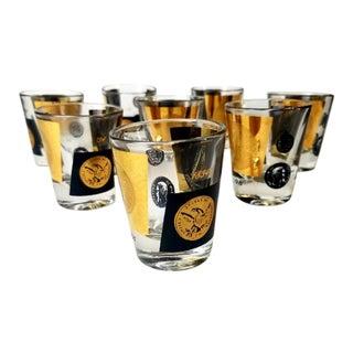 Mid-Century Cera 22kt Gold & Black Us Dollar Gold Coins Shot Glasses - Set of 8 For Sale