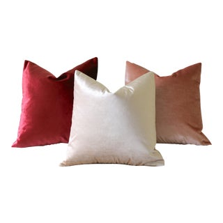 Italian Silk Velvet Pillows - Set of 3