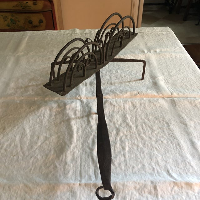 18th Century American Colonial Hand Forged Wrought Iron Rotary Fireplace Bread Toaster. Fantastic design elements as...
