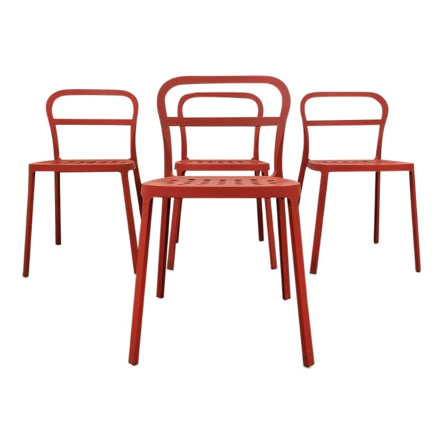 Set of 4 Contemporary Painted Red Metal Side Chairs - Image 1 of 7