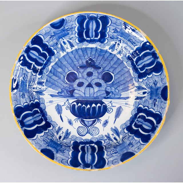 Ceramic 18th-Century Dutch Delft Peacock Charger For Sale - Image 7 of 7