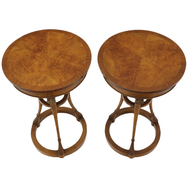 Pair of Tall Round Pedestal Shape Side End Tables on Tri Legged Bases Burl Wood For Sale