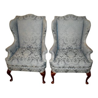 Vintage Hickory Chair Co. Queen Anne Style Wing Back Chairs - a Pair For Sale