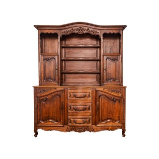 Late 19th Century French Solid Oak Display Cabinet For Sale