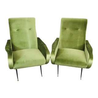 Mid-Century Zanuso Style Lime Green Velvet Lounge Chairs - a Pair For Sale
