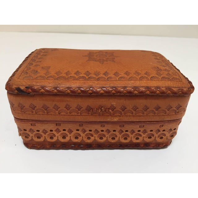 Leather Vintage Brown Box Hand Tooled in Morocco With Tribal African Designs For Sale - Image 9 of 13
