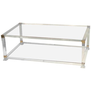 French Lucite & Brass Cocktail Table