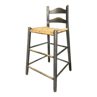Early 20th Century Antique Shaker Style Ladder Back Stool For Sale