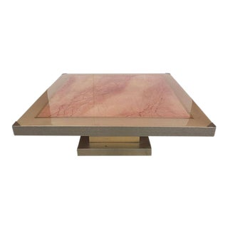 Faux Marble Square Coffee Table For Sale