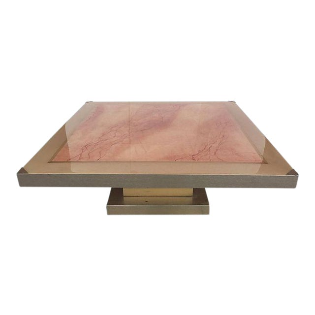 Faux Marble Square Coffee Table - Image 1 of 7