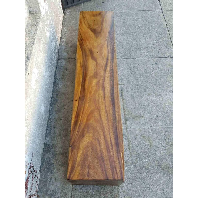 Mid-Century Modern Vintage Solid Rosewood Bench For Sale - Image 3 of 5