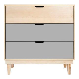 Nico & Yeye Kabano Modern Kids 3 Drawer Dresser Maple Gray For Sale