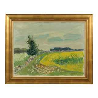 Impressionist Wild Flower Field Oil Painting by Axel P. Jensen For Sale