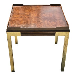 Vintage Drexel Heritage Connoisseur Burl Wood and Brass Leg Side Table For Sale