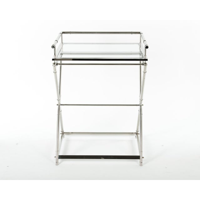 Mid 20th Century Mid-Century Glass Top Bar Cart For Sale - Image 5 of 5