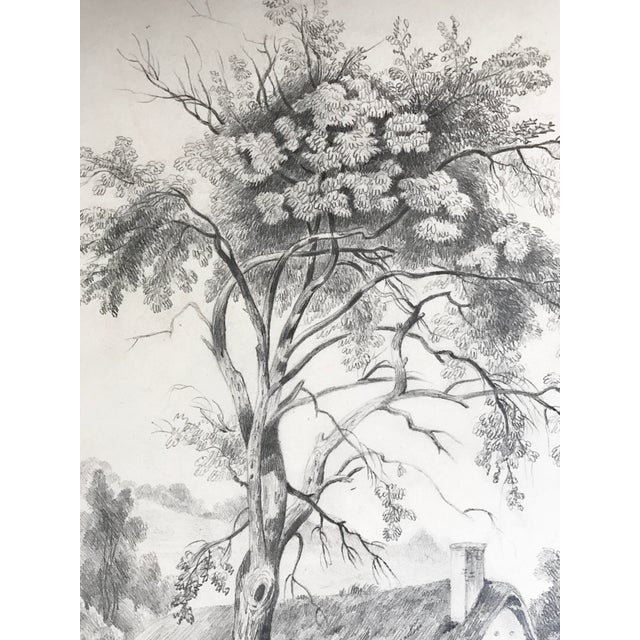 19th C French Cottage Landscape Drawing - Image 5 of 5
