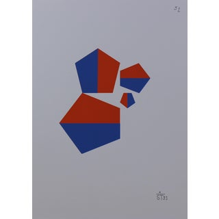 Anton Stankowski Classic Abstract Red & Blue Serigraph For Sale