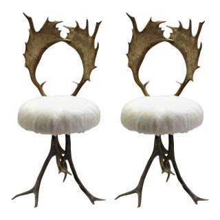 Antler Chairs - a Pair For Sale