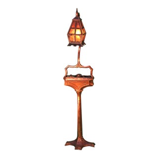 """Arts and Crafts Floor Lamp (""""Smoking"""" Lamp) Copper Plated Bronze For Sale"""