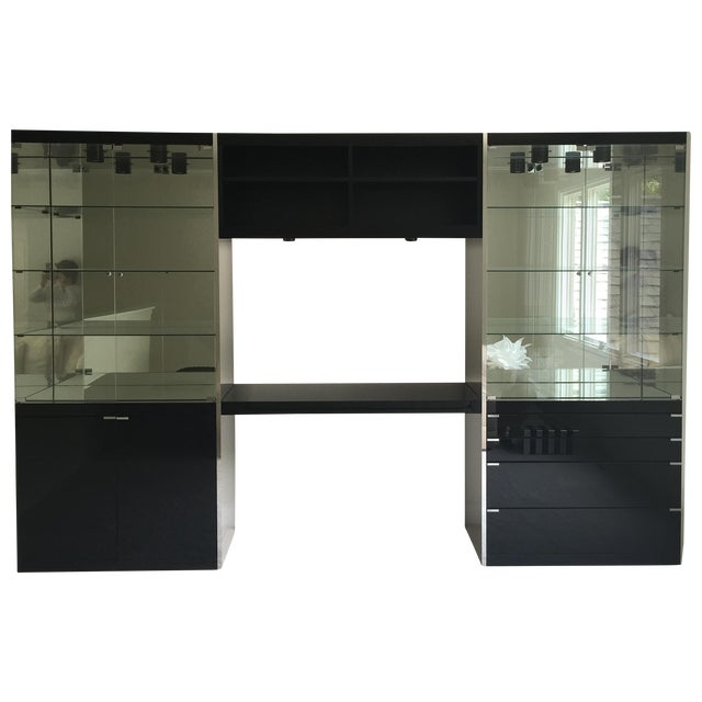 Ello Black Glass Curio Cabinet Desk For Sale