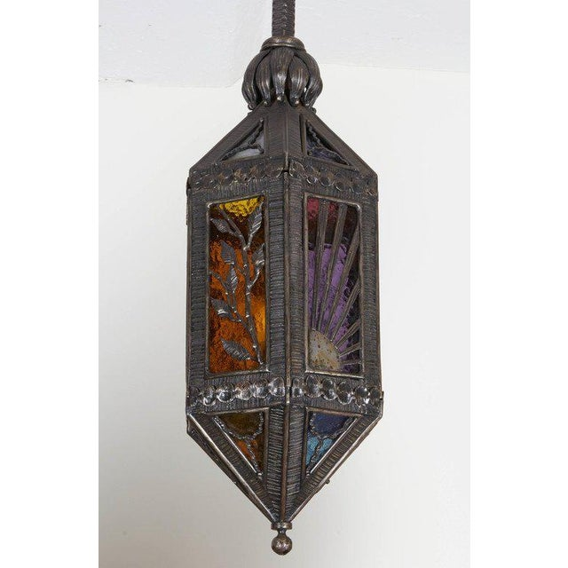 Art Deco Kiss Wrought Iron Lantern For Sale - Image 3 of 9