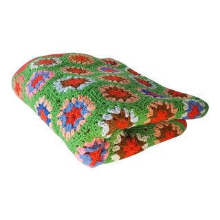 Late 20th Century Crotched Afghan Throw For Sale