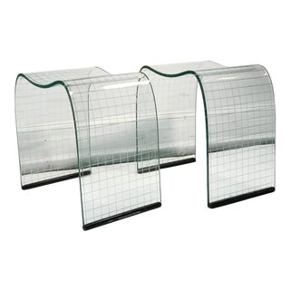 Late 20th Century Vittorio Livi Curved Glass Crystal Scroll Side Tables - a Pair For Sale